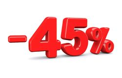 45 procentów z rabata znaka Czerwony tekst odizolowywa na bielu Zdjęcia Stock