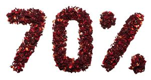 70 procent av hibiskuste på en isolerad vit bakgrund Royaltyfri Foto