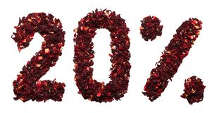 20 procent av hibiskuste på en isolerad vit bakgrund Royaltyfria Foton