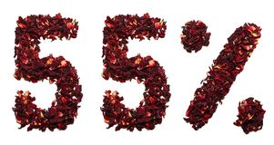 55 procent av hibiskuste på en isolerad vit bakgrund Arkivfoto