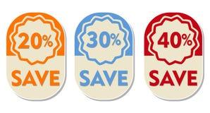 20 30, 40 procent av räddning, tre ellipsformiga etiketter Royaltyfri Fotografi
