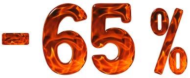 Procent av rabatt Negativ 65 är sextiofem procent, tal Arkivfoton