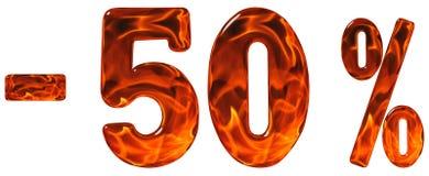 Procent av rabatt Negativ 50 femtio procent, talisolat Arkivfoto