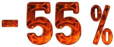 Procent av rabatt Negativ 55 femtiofem procent, tal I Royaltyfri Fotografi