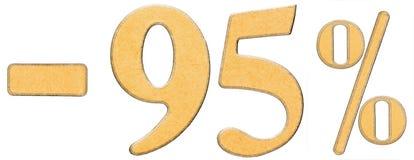Procent av rabatt Negativ 95 nittiofem procent är tal Arkivbilder