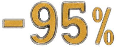 Procent av rabatt Negativ 95 nittiofem, procent Metall nu Royaltyfria Foton