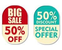50 procent av rabatten, den stora försäljningen och det speciala erbjudandet, ellipti två Arkivbild