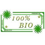 100 procent bio etikett royaltyfri illustrationer