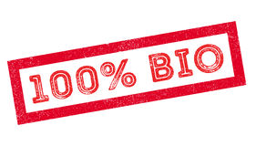 100 procent bio rubber stämpel Arkivbild