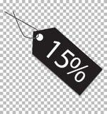 15 procent etikett på genomskinlig bakgrund 15 procent etikettstecken royaltyfri illustrationer