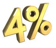 procent för guld 3d 4 Fotografering för Bildbyråer