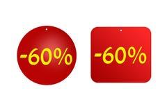 60 procent från röda klistermärkear på en vit bakgrund Rabatter och försäljningar Royaltyfri Fotografi