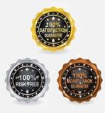 Procent gwaranci odznaki złota srebra brązu set Zdjęcia Stock