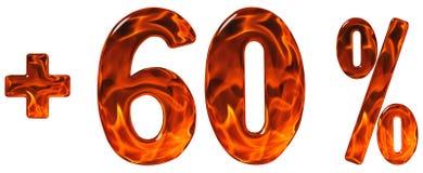 Procent korzysta, plus 60, sześćdziesiąt procentów, liczebniki odizolowywający na w Zdjęcia Stock