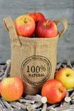 100 procent natürliche Äpfel in einer Jutefasertasche Lizenzfreie Stockfotografie