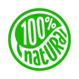 100 procent naturlig etikett Arkivfoto