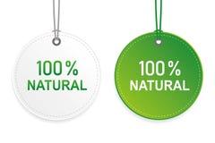 100 procent naturlig kapselgräsplan- och vitetikett vektor illustrationer