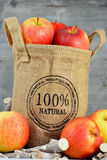 100 procent naturliga äpplen i en jutepåse Fotografering för Bildbyråer