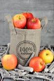100 procent natuurlijke appelen in een jutezak Stock Afbeelding