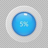 5 procent pajdiagram på genomskinlig bakgrund Infographic symbol för procentsatsvektor för affären, finans Arkivbild