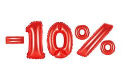 10 procent, röd färg Royaltyfri Bild