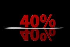 40 procent, röd text, tolkning 3D med reflexion Arkivfoton