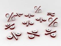 procent röd white Fotografering för Bildbyråer
