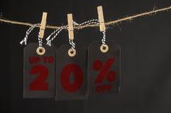 20 procent rabattetikett Arkivfoton
