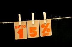 15 procent rabattetikett Arkivfoto