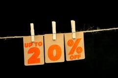 20 procent rabattetikett Arkivbild
