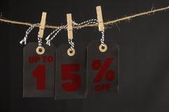 15 procent rabattetikett Fotografering för Bildbyråer