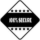 100 PROCENT SÄKERT på formad klistermärkeetikett för svart diamant stock illustrationer