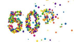 50 procent undertecknar in färgrika bollar och sfärer arkivfilmer