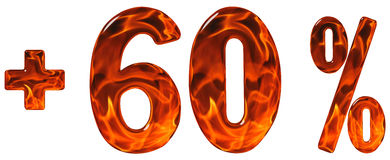 Procenten drar nytta, plus 60, sextio procent, tal som isoleras på w Arkivfoton