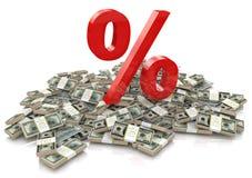 Procentsats och pengar stock illustrationer