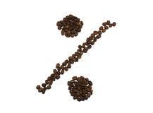 Procentsats som göras av grillade isolerade kaffebönor på vit backgr Arkivbilder