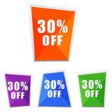 30 procentsatser av, fyra färgetiketter royaltyfri illustrationer