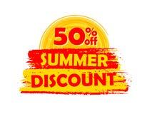 50 procentsatser av sommarrabatt med solen undertecknar, den drog etiketten stock illustrationer