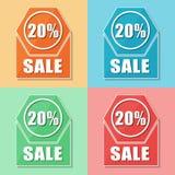 20 procentsatser försäljning, fyra färgrengöringsduksymboler Royaltyfri Foto