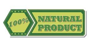100 procentsatser naturprodukt - retro grön etikett Arkivbild