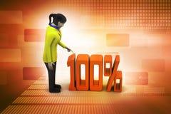 procentsatstecken med kvinnan Arkivbilder