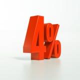Procentsatstecken, 4 procent Fotografering för Bildbyråer