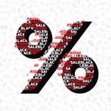 Procenttecken för höstförsäljning på svart illustration för fredag shoppingvektor Royaltyfri Bild