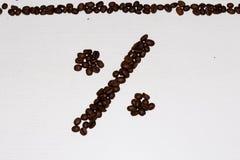 Procenttecken från kaffe Royaltyfri Foto