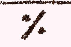 Procenttecken från kaffe Arkivbilder