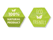 100 procentów naturalni i eco życzliwy z liściem podpisujemy wewnątrz zielonego hex Fotografia Stock