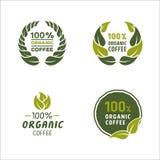 100 procentów organicznie kawowy logo i znak Zdjęcia Stock