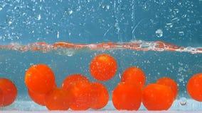 Proces dojrzały pomidoru ` spada w zbiornika wypełniał z wodą zbiory