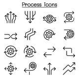 Proces ikona ustawiająca w cienkim kreskowym stylu Zdjęcia Royalty Free