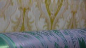 Proces inscenizowanie tapeta Drukowana prasa przy tapetow? fabryk?, zbiory